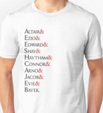 Assassin's Creed - Character Names (Black Text) T-Shirt
