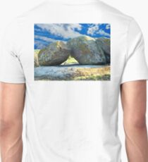 Old moss stones against blue sky. T-Shirt