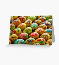 Multicolored easter eggs as background. Greeting Card