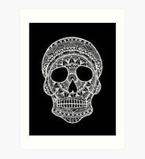 Mandala Skull - White Print Art Print
