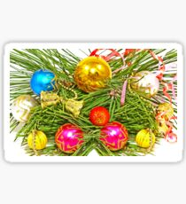 Multicolored Christmas balls and pine branch. Sticker