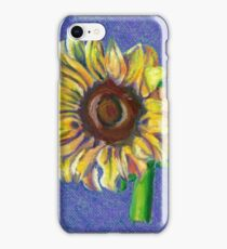 Yellow Sunflower on Blue- Oil Pastel Art - Floral Art iPhone Case/Skin