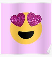 glittter heart eye emoji Poster