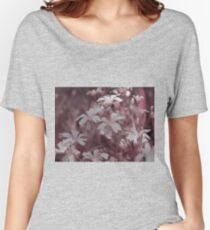 White flowers taken closeup in pink. Women's Relaxed Fit T-Shirt