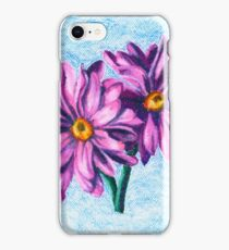 Pink Daisies on Blue- Oil Pastel Art - Floral Art iPhone Case/Skin
