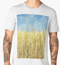 Ripe yellow wheat ears on field against blue sky. Men's Premium T-Shirt