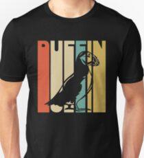 Weinlese-Art-Papageientaucher-Schattenbild-Hemd Slim Fit T-Shirt