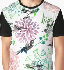 Birds and Flowers Graphic T-Shirt