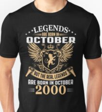 Legends Are Born In October 2000 T-Shirt