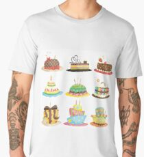 Birthday Cake with Candle in White Men's Premium T-Shirt