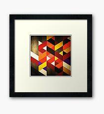 Vintage Retro Geometric Orange Brown Pattern Framed Print