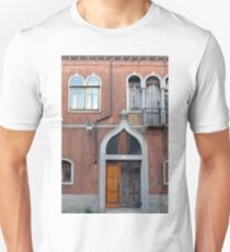 Venetian red building facade with arched windows and door T-Shirt
