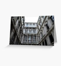 Classical marble building with columns and details on facade Greeting Card