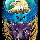 Totem Pole Eagle, Owl, Wolf by Michelle Potter