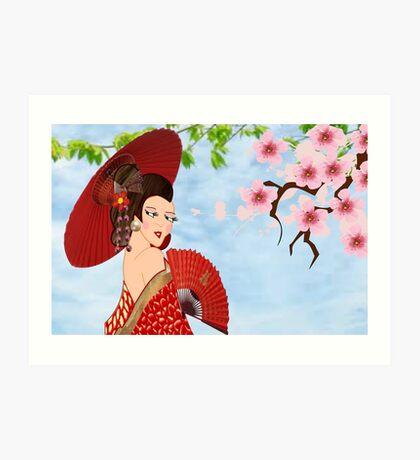 Geisha& Japanese fan(15521  views) Art Print