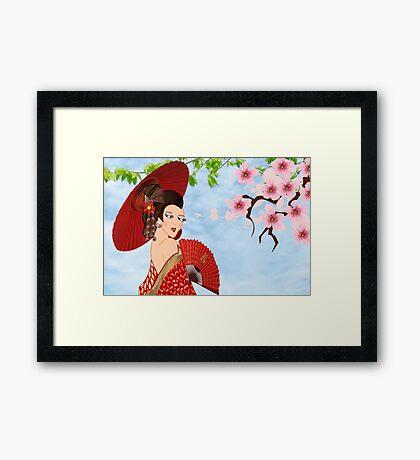 Geisha& Japanese fan(15503  views) Framed Print