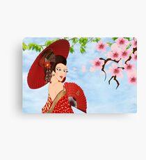 Geisha& Japanese fan(15503  views) Canvas Print