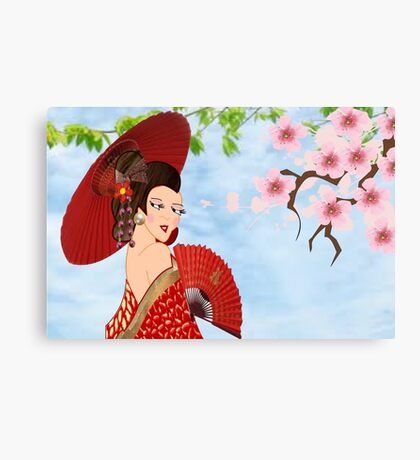 Geisha& Japanese fan(15521  views) Metal Print