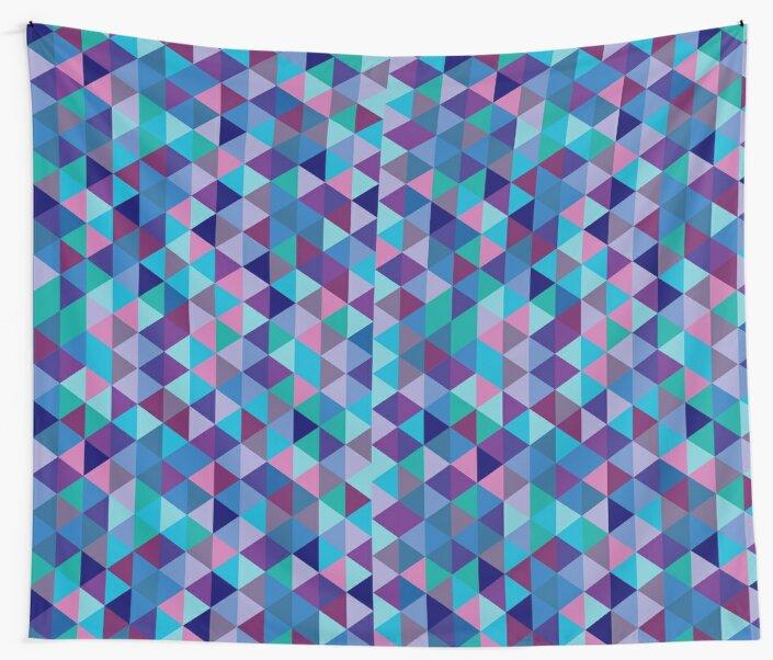 Blue Purple Modern Triangle by MyArt23