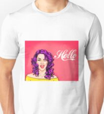 Pop art purple hair girl wink, hello! T-Shirt