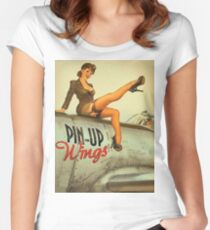 Pin up sexy girl pilot on a plane, army poster Women's Fitted Scoop T-Shirt