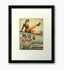 Pin up sexy girl pilot on a plane, army poster Framed Print