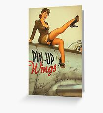 Pin up sexy girl pilot on a plane, army poster Greeting Card