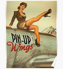 Pin-up sexy Mädchen Pilot auf einem Flugzeug, Armee Poster Poster