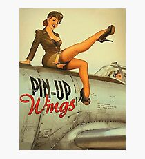 Pin up sexy girl pilot on a plane, army poster Photographic Print