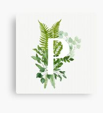 Floral letter P Canvas Print