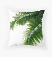 Tropical Palm Leaves Throw Pillow