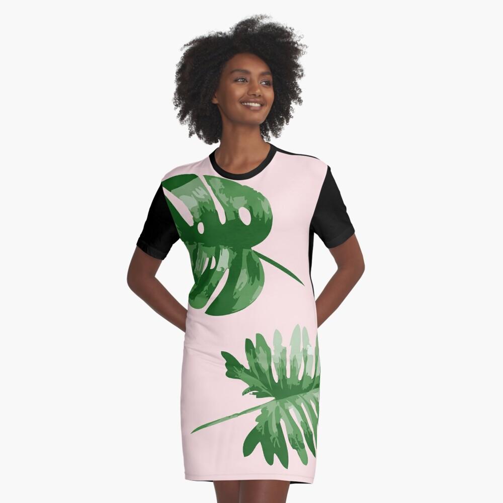 Monstera T-Shirt Kleid Vorne