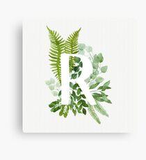 Floral letter R Canvas Print