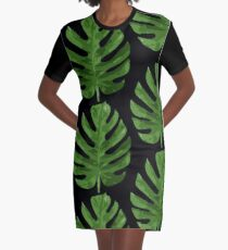 Monstera Leaf Graphic T-Shirt Dress