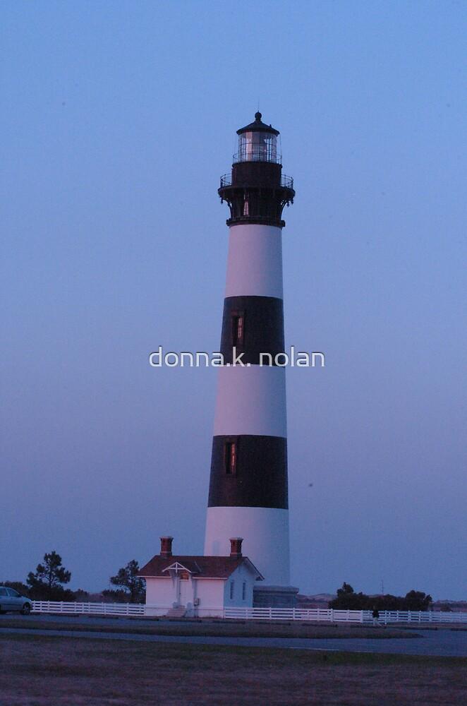 lighthouse at sunset by donna.k. nolan