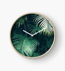 Tropical Palm Leaves Clock