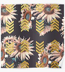 Gold sunflowers Poster