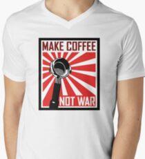 Mache Kaffee Nicht Krieg T-Shirt mit V-Ausschnitt