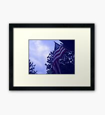 American flag blue hue from a childs view Framed Print