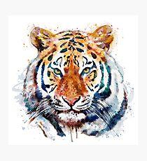 Tiger Head watercolor Photographic Print