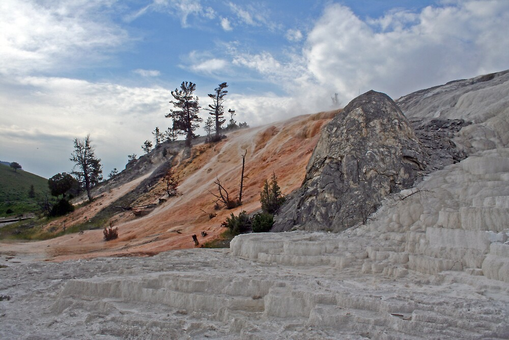 Mammoth Hot Springs and the Devil's Thumb by Patricia Shriver