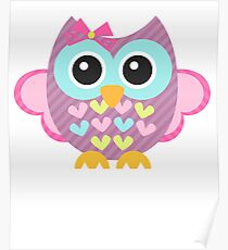 Funny Colorful owl - Bird Pink  Poster