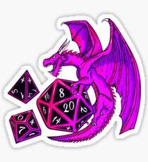 Pink Dice Dragon - d20 d10 d4 Sticker
