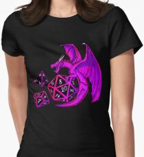 Pink Dice Dragon - d20 d10 d4 Women's Fitted T-Shirt