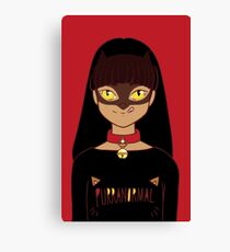 Purranormal Cat Girl - Black on Red Canvas Print