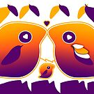 Sunset Love Bird Family by migaloomagic