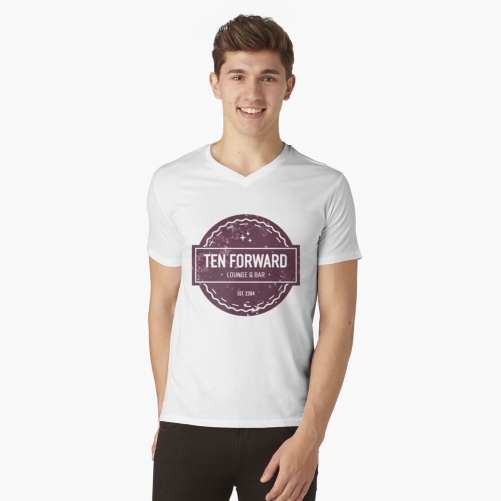 Zehn Vorwärts - Rustikales Logo Design T-Shirt mit V-Ausschnitt