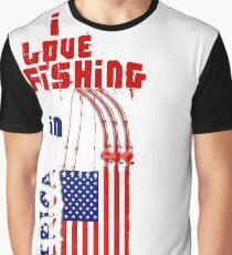 I LOVE Fishing in AMERICA Graphic T-Shirt