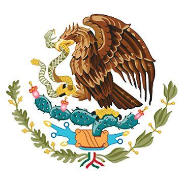 MEXICO, MEXICAN, EAGLE SYMBOL, Mexican Flag, Flag of Mexico, Bandera de México, Pure & simple by TOMSREDBUBBLE