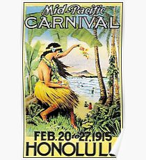 HAWAII : Vintage Honolulu Mid-Pacific Carnival Print Poster